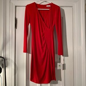 CALVIN KLEIN V Neck Wrap Long Sleeve Dress